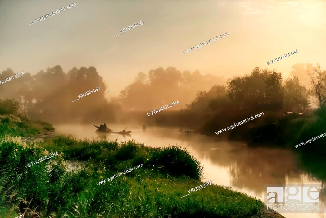 Stock Photo: Landscape with moon light at night over river. Fog above water and trees.