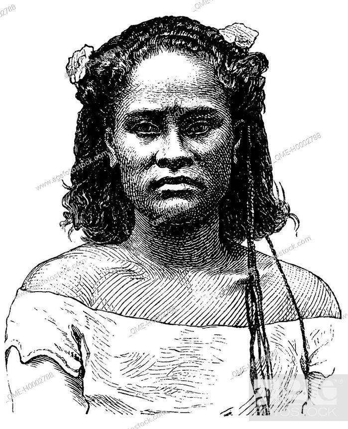 Stock Photo: Portrait of a woman of the Tonga Islands.