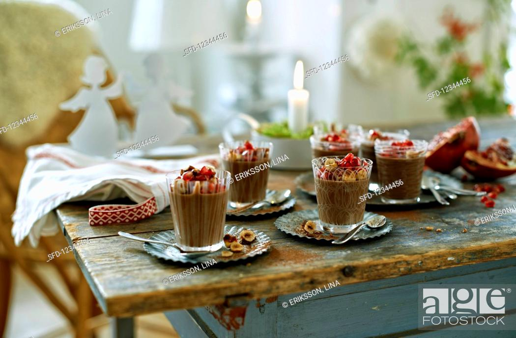 Stock Photo: Chocolate mousse with ginger for Christmas.
