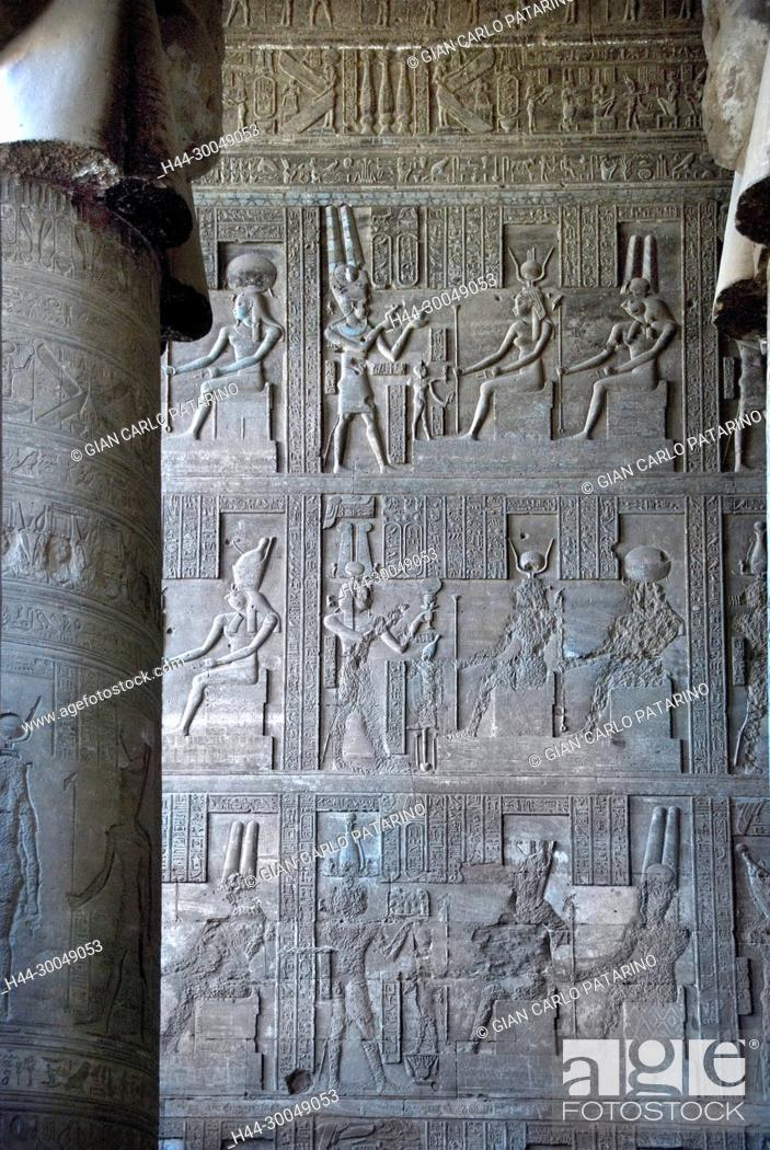 Stock Photo: Egypt,Dendera,Ptolemaic temple of the goddess Hathor.Carvings on interior walls.