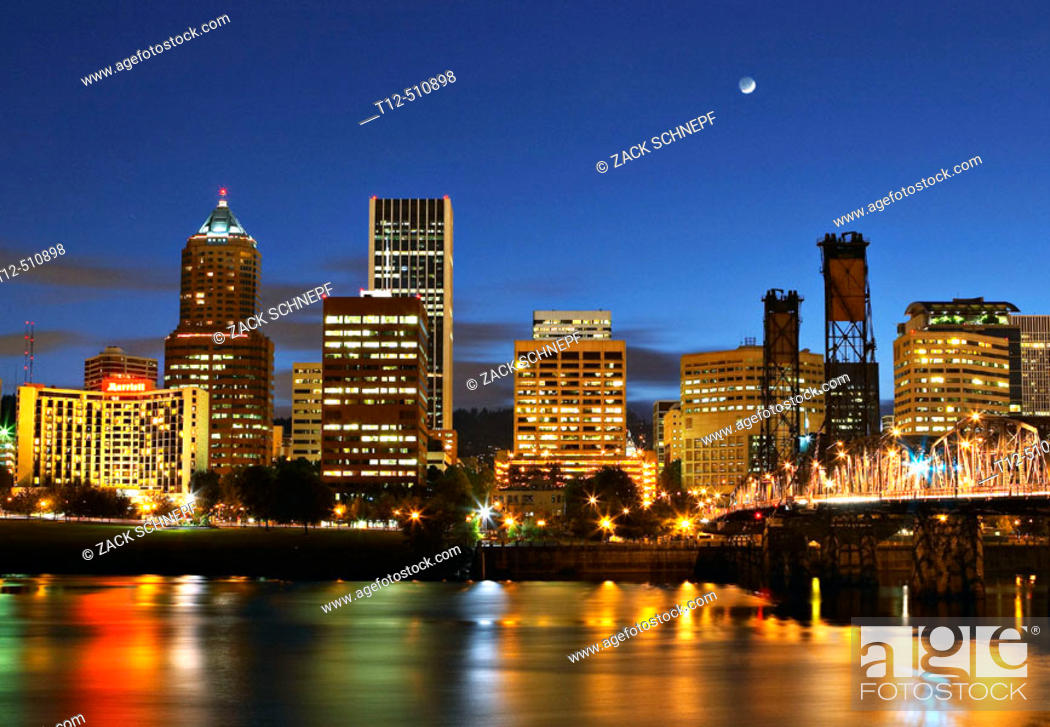 Stock Photo: Portland's Waterfront at dusk.