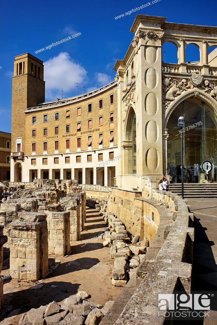 Stock Photo: The Roman Amphitheatre. Lecce, Apulia, Italy.