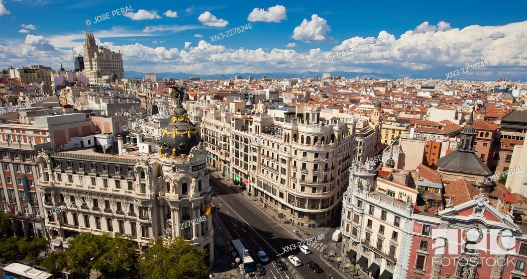 Gran Via And Metropolis Building View From The Roof Of