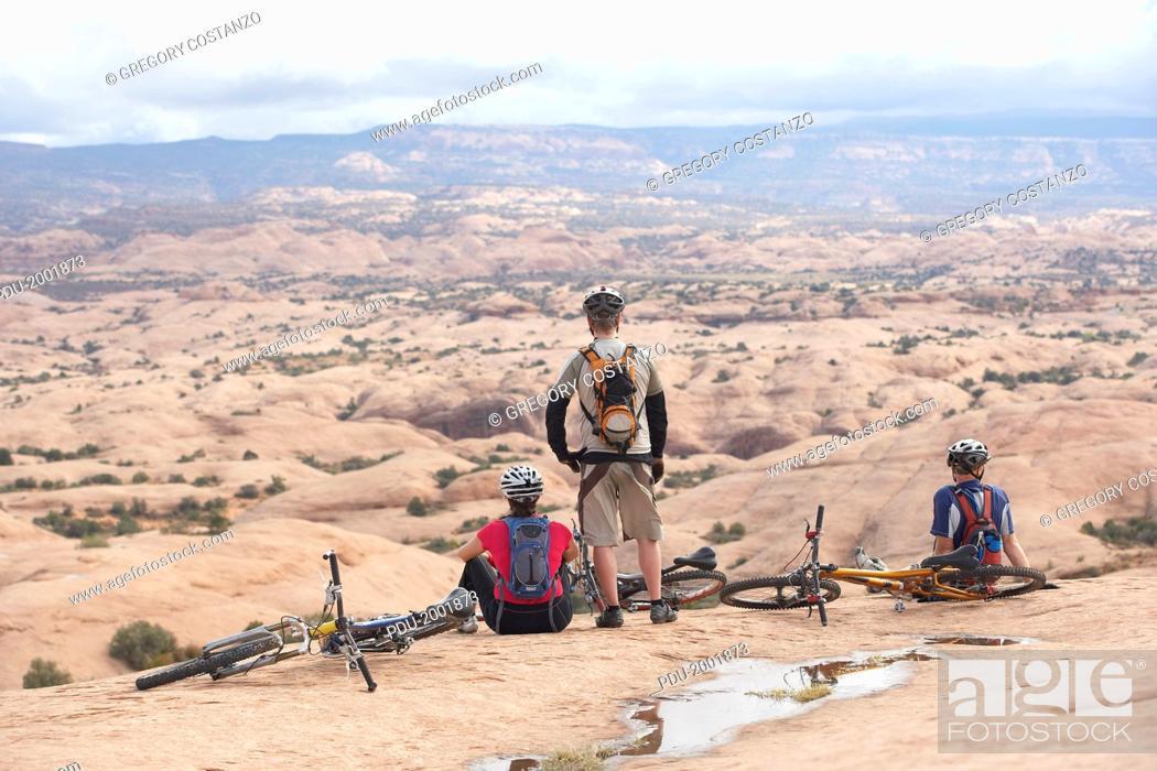 Stock Photo: Bikers Resting in Moab, Utah.