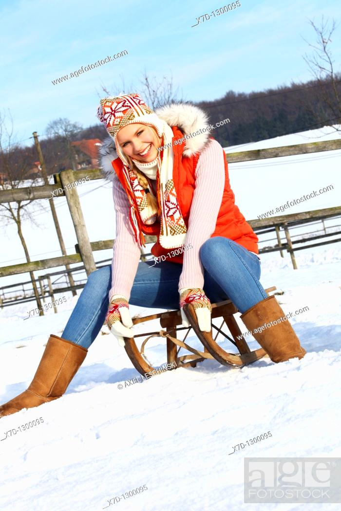 Stock Photo: woman in winterly landscape.