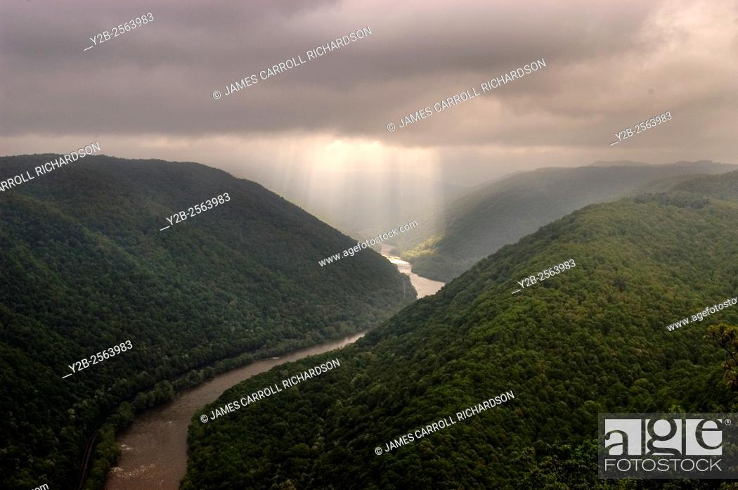 Stock Photo: Grandview Overlook at New River Gorge National River.