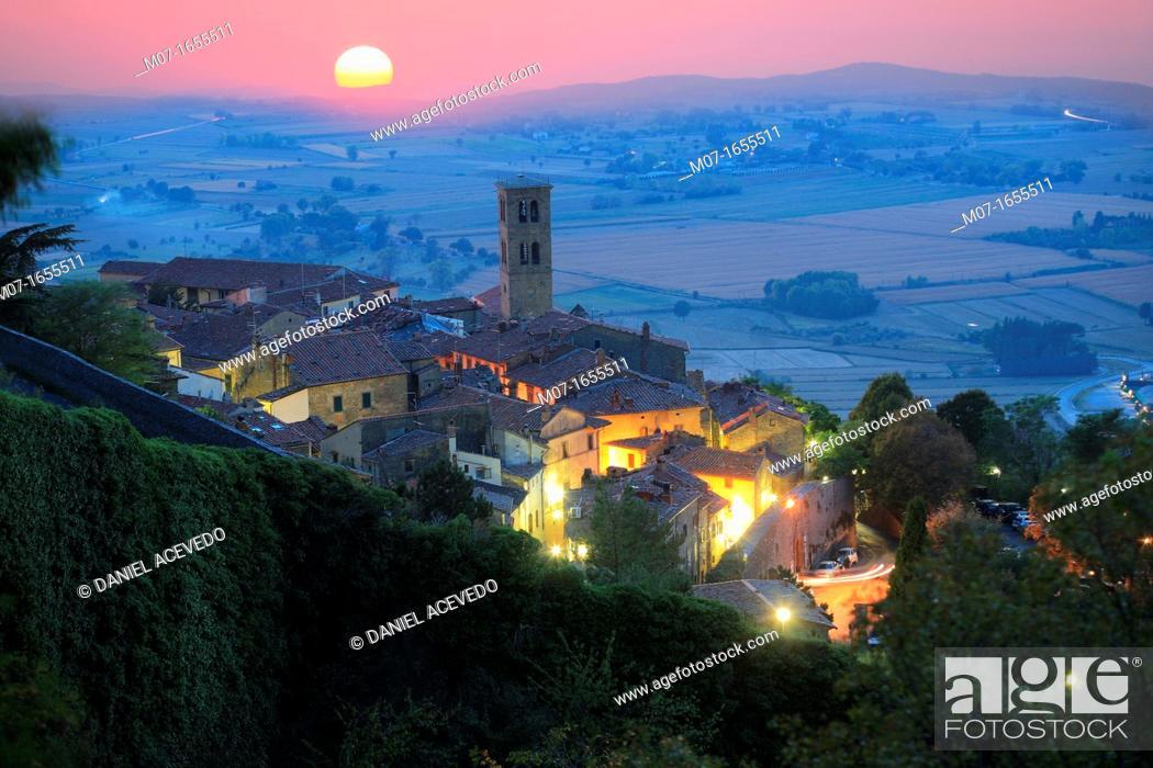 Stock Photo: Cortona sunset, Arezzo county, Italy.