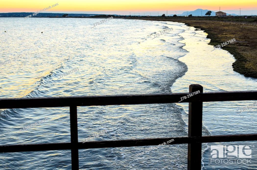Stock Photo: A sea landscape sight in Tamarit beach, Alicante coast, Spain.