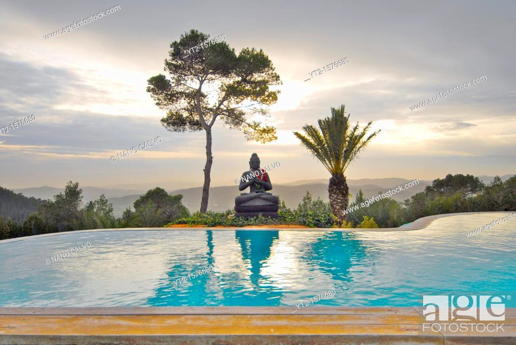 Stock Photo: Buddha House, a fasting and retirement beautiful house in the mountains of San Miquel, Ibiza, Spain.