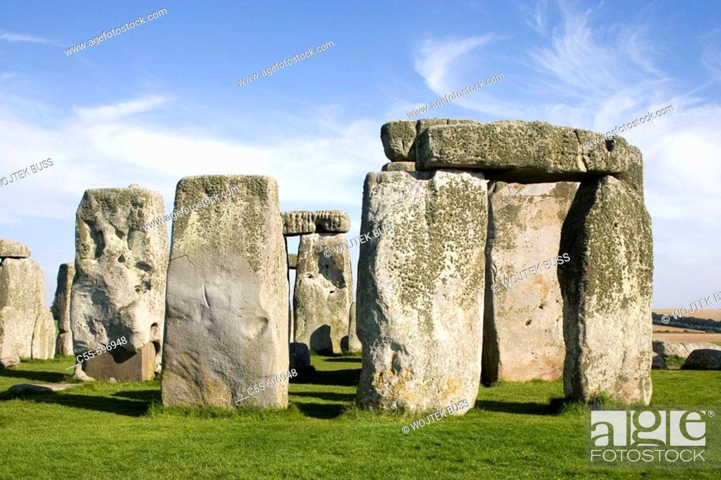 Stock Photo: Prehistoric monument, great astronomical calendar, erected about 5000 years ago, circle of stones, UNESCO World Heritage.