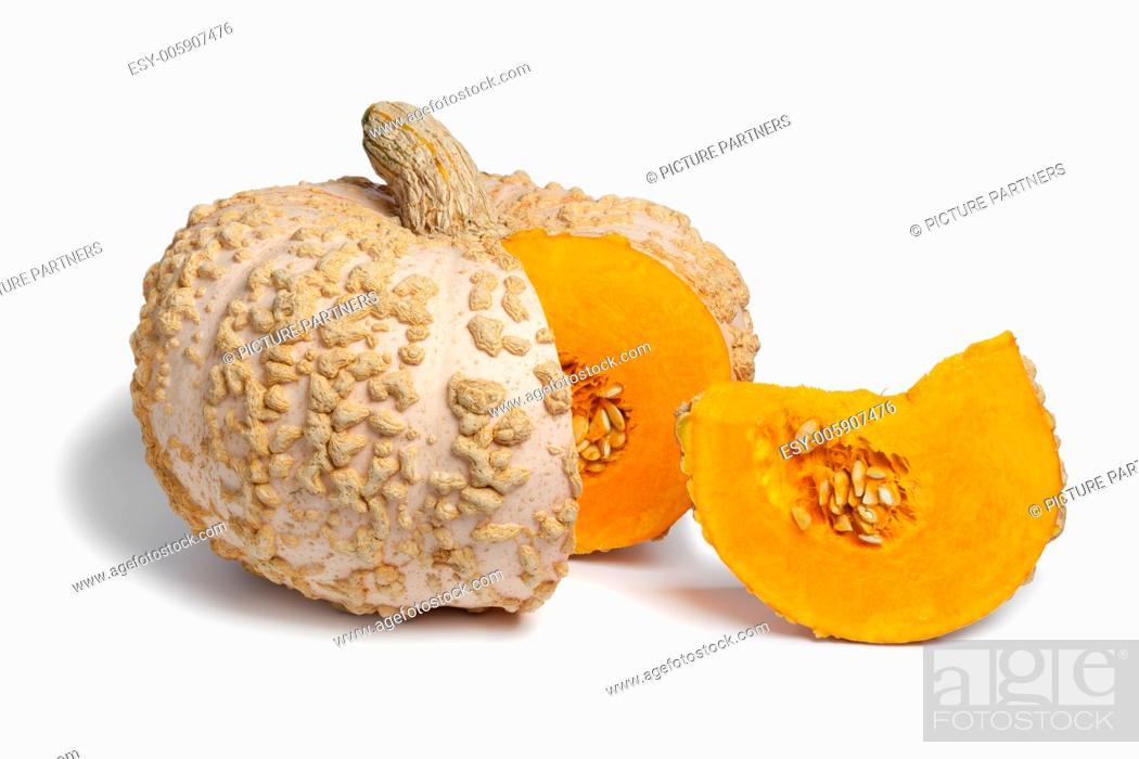 Photo de stock: Fresh Peanut Pumpkin on white background.