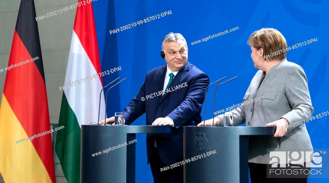 Stock Photo: 10 February 2020, Berlin: Federal Chancellor Angela Merkel (CDU) and Viktor Orban, Prime Minister of Hungary, will hold a press conference at the Federal.