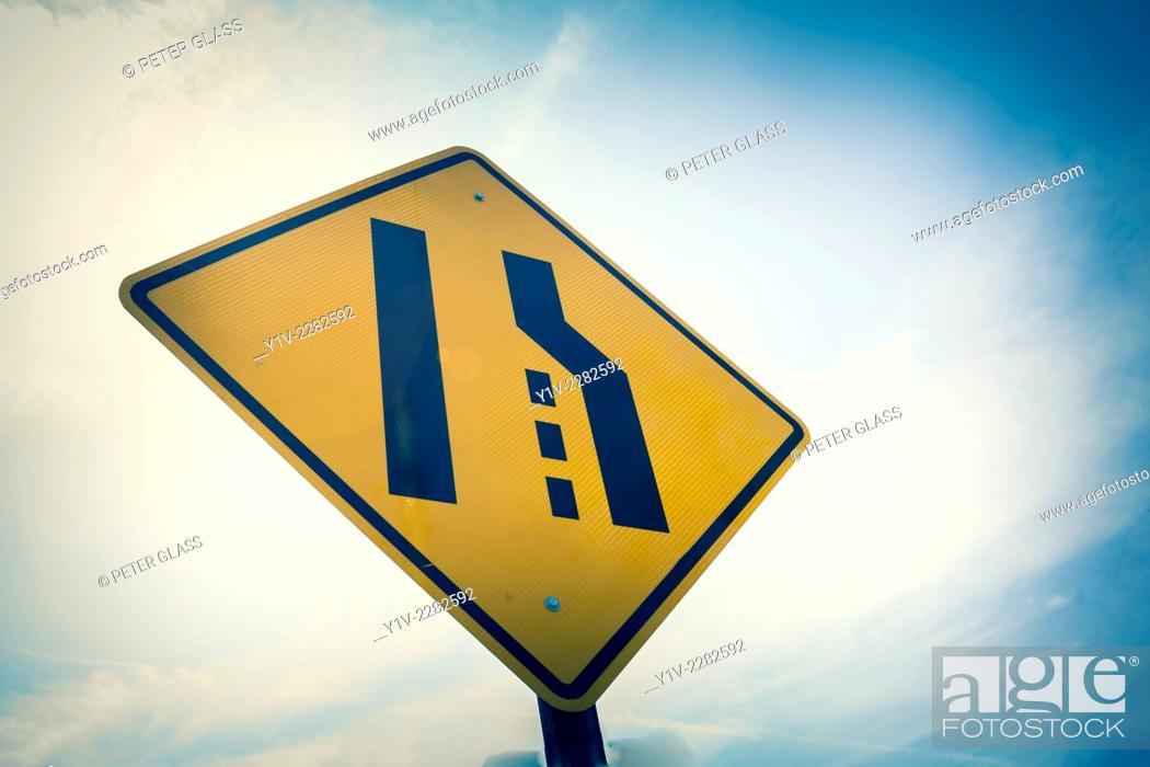 Stock Photo: Lane changing sign.