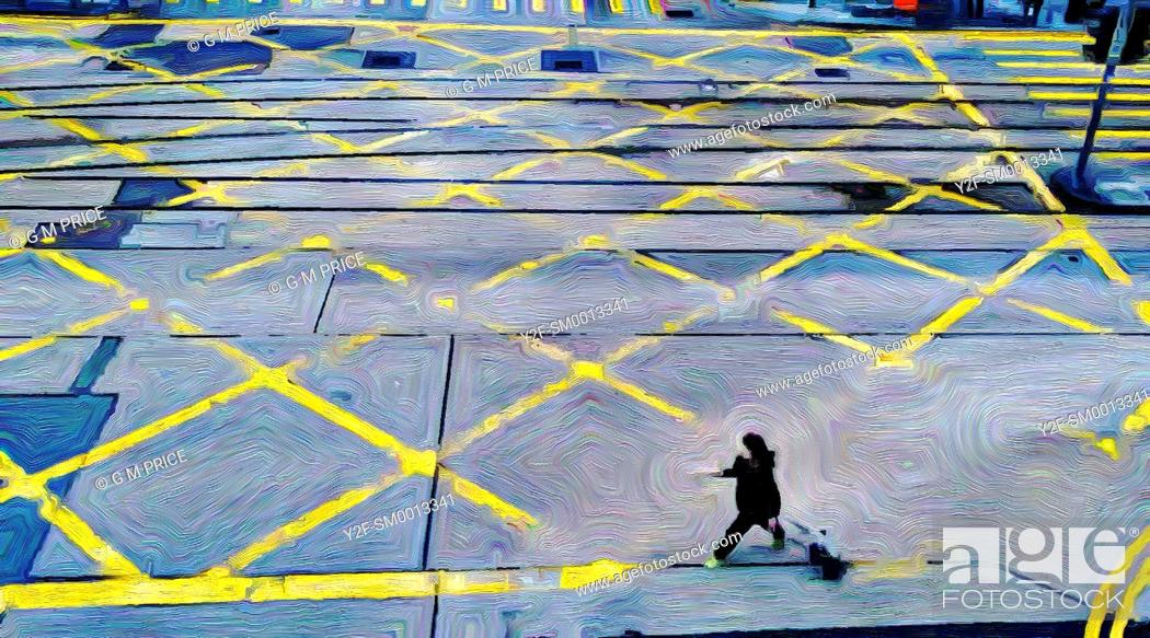 Stock Photo: expressionist filter view of woman crossing intersection in Central, Hong Kong.