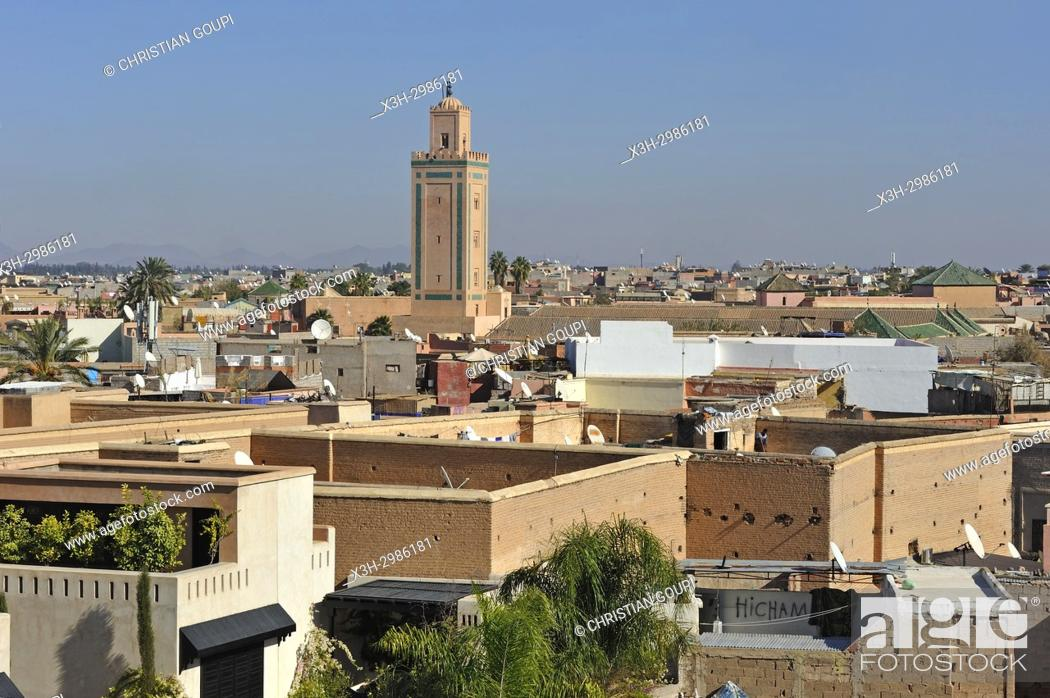Stock Photo: minaret of the Mosque Ben Youssef, Medina of Marrakesh, Morocco, North Africa.