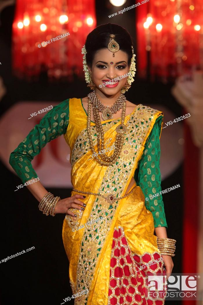 Canada Scarborough 01 03 2014 An Indian Fashion Model Showcases An Elegant Saree During A South Stock Photo Picture And Rights Managed Image Pic Vig 4382623 Agefotostock