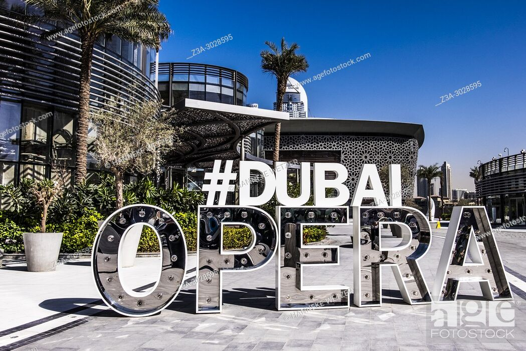 Stock Photo: Hashtag Dubai Opera in Dubai.