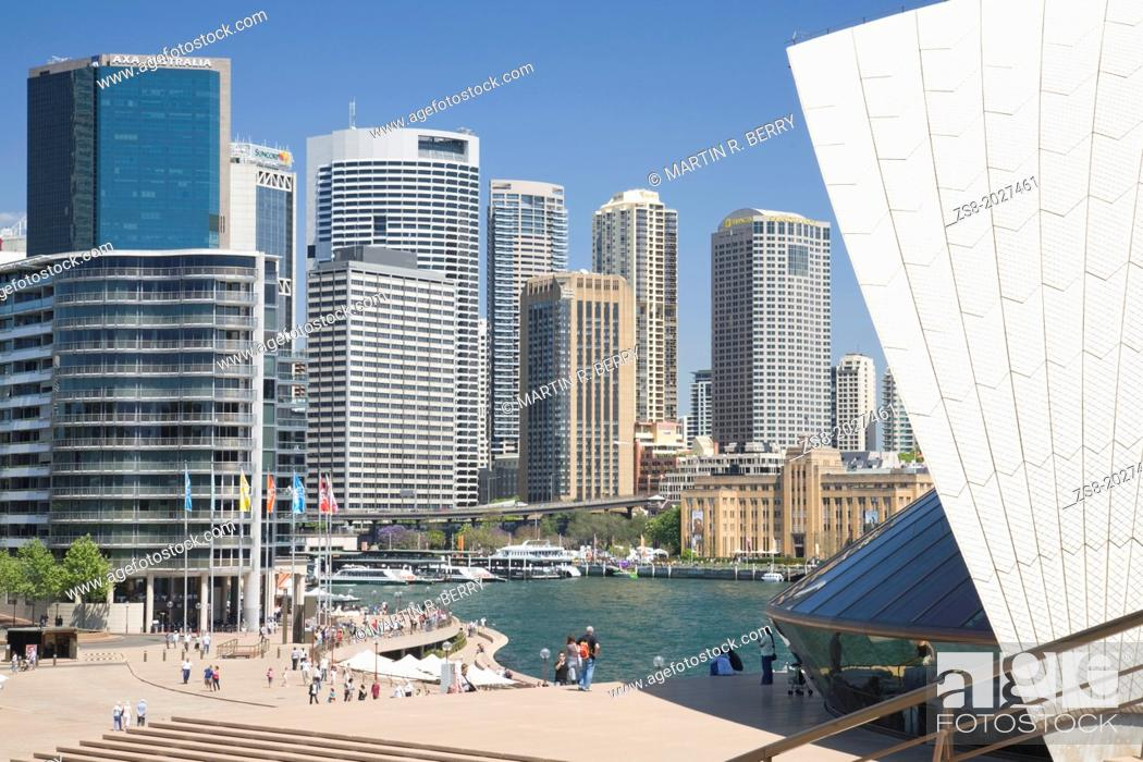 Stock Photo: View of office buildings at Circular Quay in Sydney, taken from sydney opera house steps, Australia.