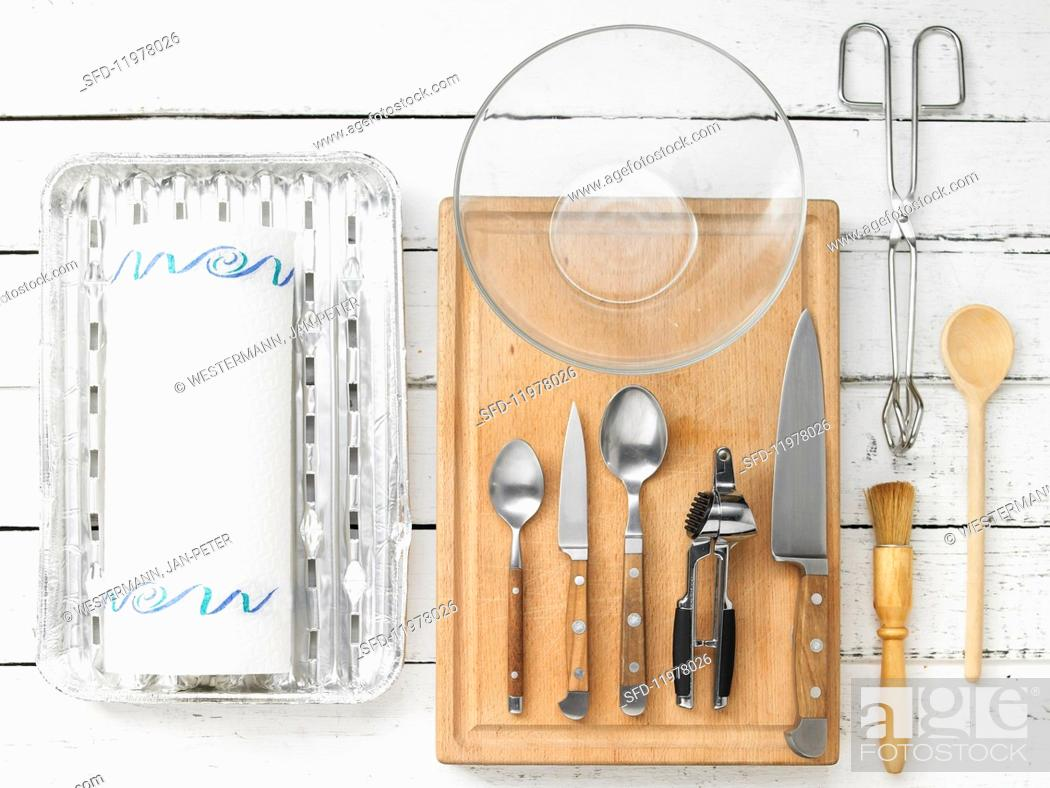 Stock Photo: Kitchen utensils for making stuffed, grilled vegetables.