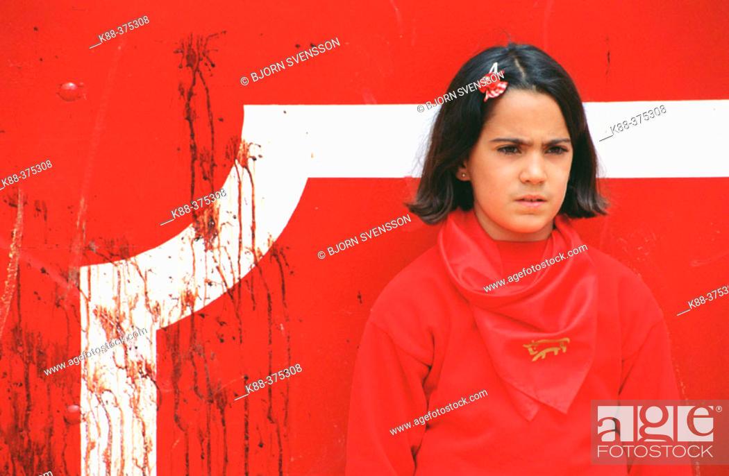 Stock Photo: Young girl at bullring. Pamplona. Navarre, Spain.