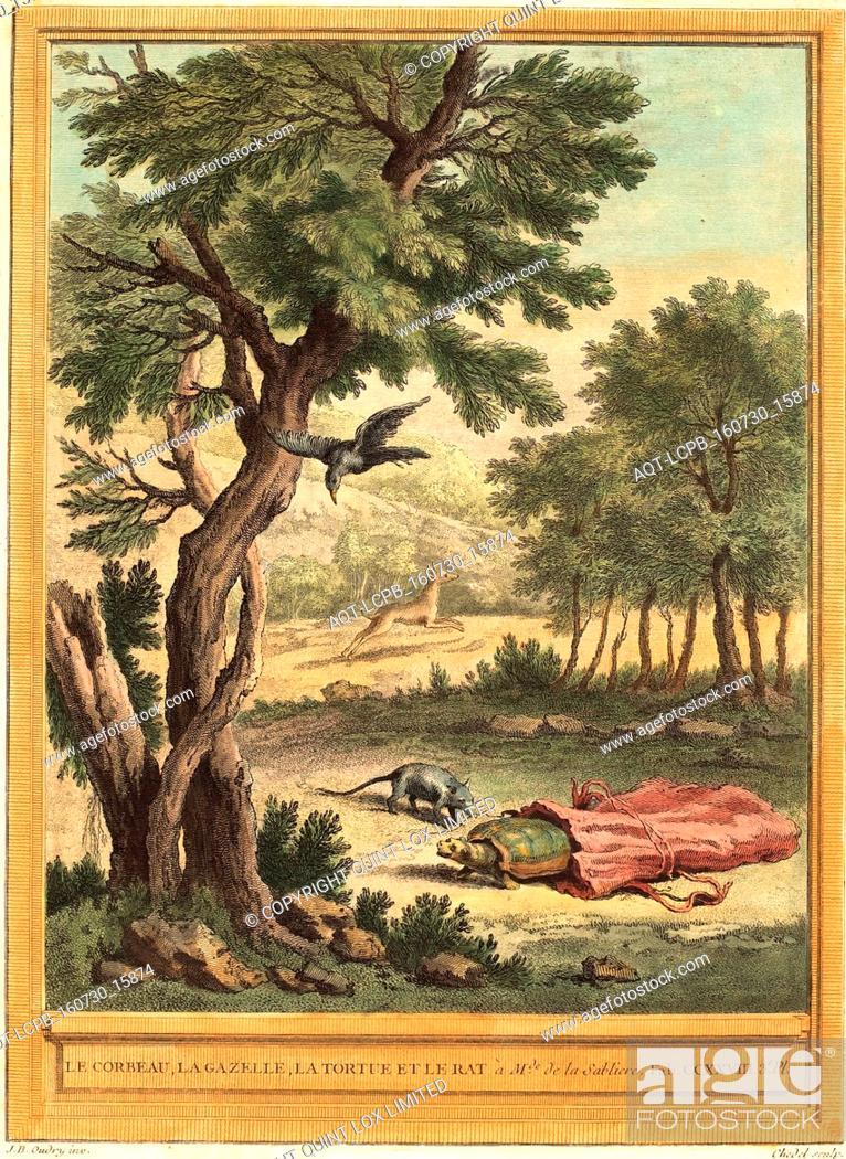 Stock Photo: Quentin-Pierre Chedel after Jean-Baptiste Oudry (French, 1705 - 1763 ), Le corbeau, la gazelle, la tortue et le rat (The Crow, the Gazelle, the Tortoise, and.