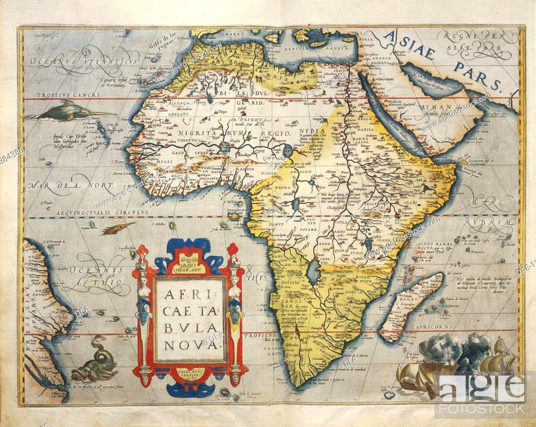 Cartography, 16th century. Map of Africa, from Theatrum Orbis