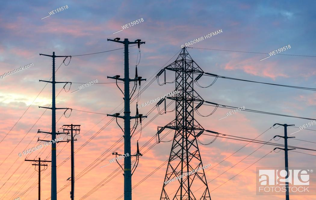 Stock Photo: Electricity Pylons in Southern California, USA.