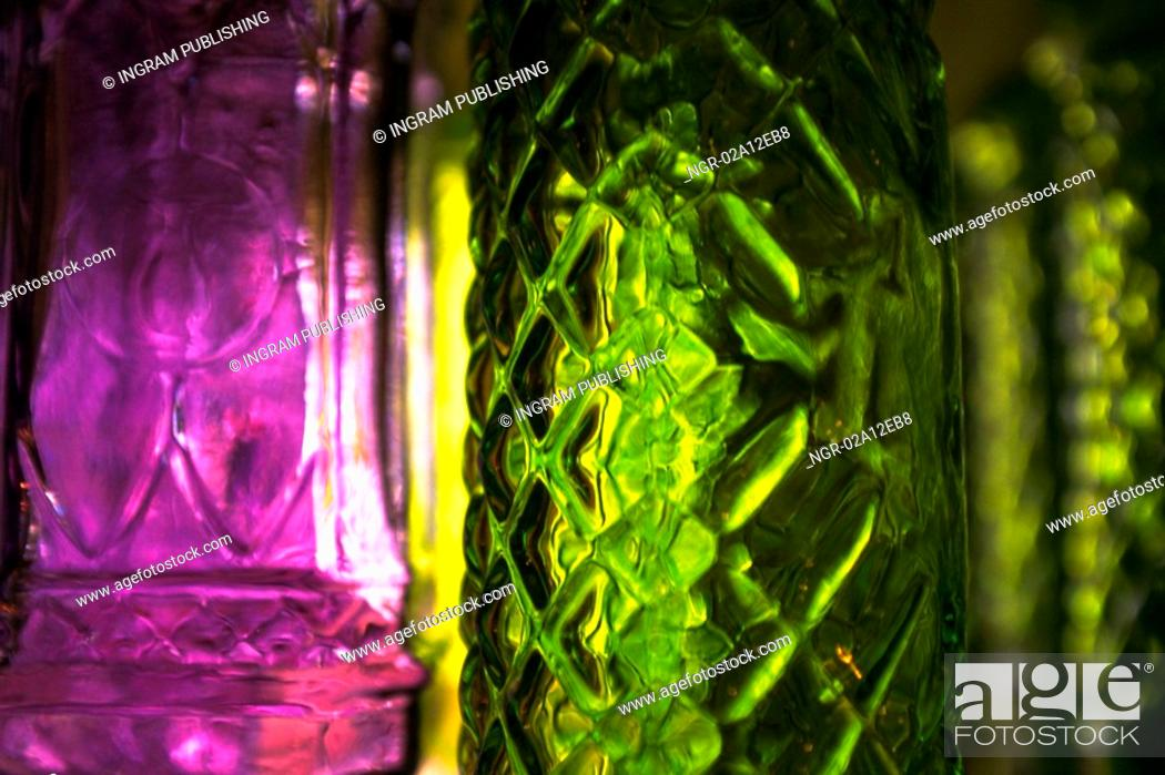 Stock Photo: Close-up of glass bottles.