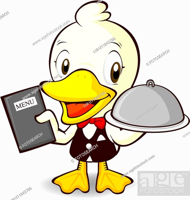 Stock Photo: restaurant, character, business, animal, food, livestock, duck.