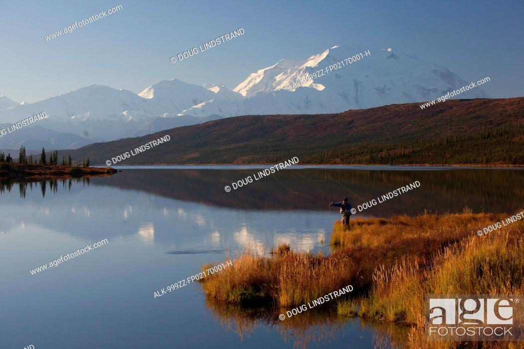 Photo de stock: Fly fisherman casting over Wonder lake with the northside of Mt. McKinley in the background, Denali National Park and Preserve, Interior Alaska, Fall.