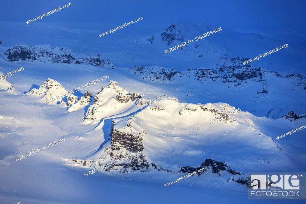 Stock Photo: Mt. Esjufjoll, Lyngbrekkutindur peak, Vatnajokull Ice Cap, Iceland.