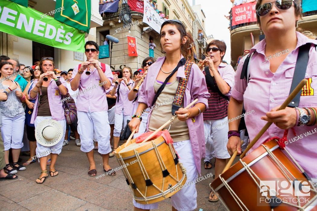 Stock Photo: Musicians of Minyons de Terrassa  'Castellers', a Catalan tradition  Vilafranca del Penedès  Barcelona province, Spain.