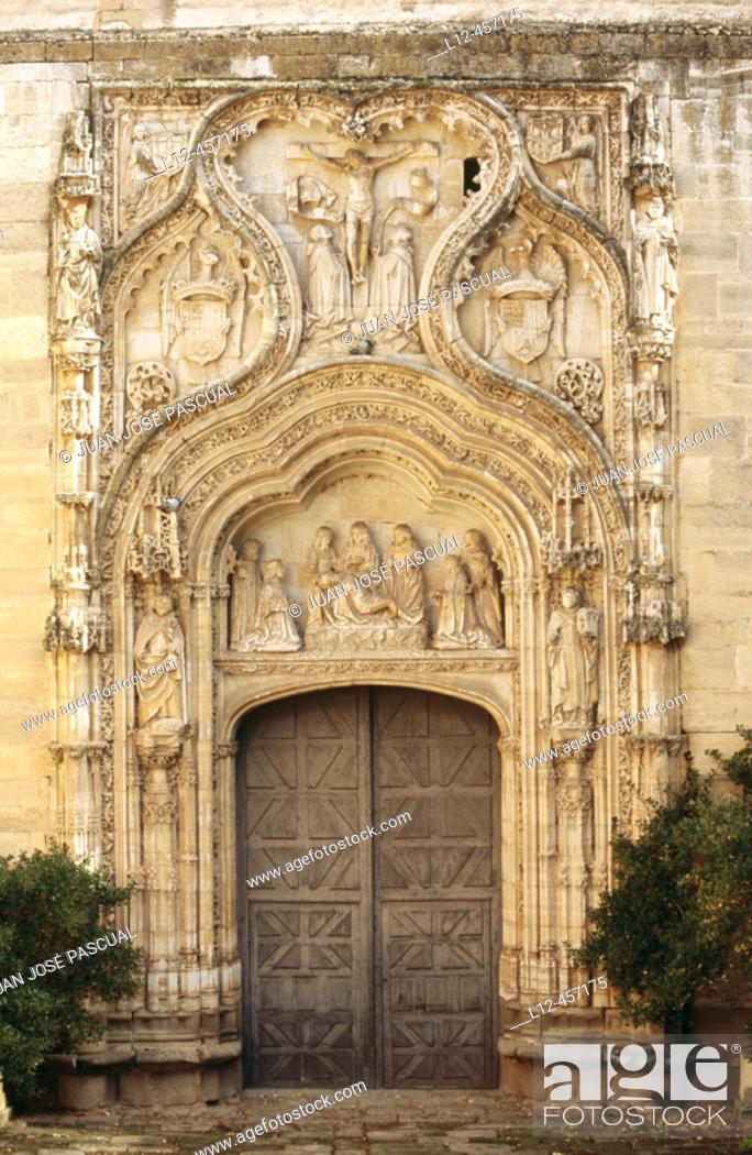 Stock Photo: Main door of church, convent of Santa Cruz la Real. Segovia. Castilla-León, Spain.