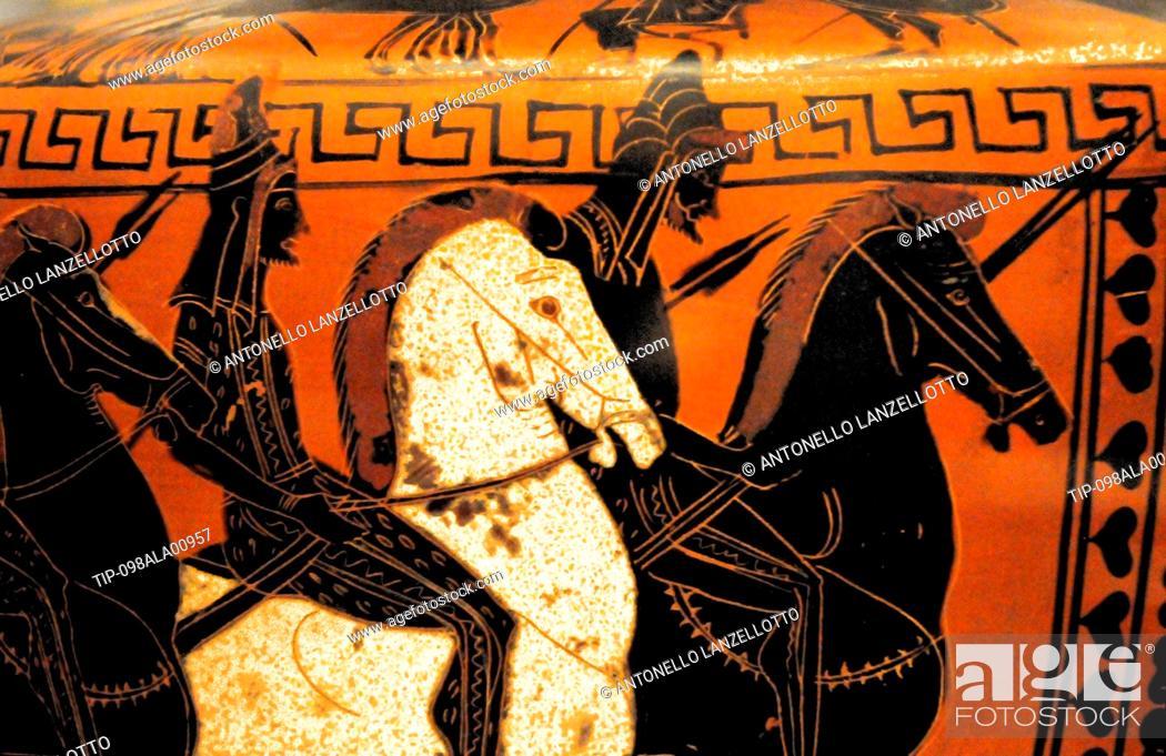 Stock Photo: Italy, Lazio, Rome, Poli Palace Museum, Nostoi Exhibition, Greek Art, Attic Painted Terracotta Vase, Attic Hydria, Painter of Antimen, Shiite Riders.
