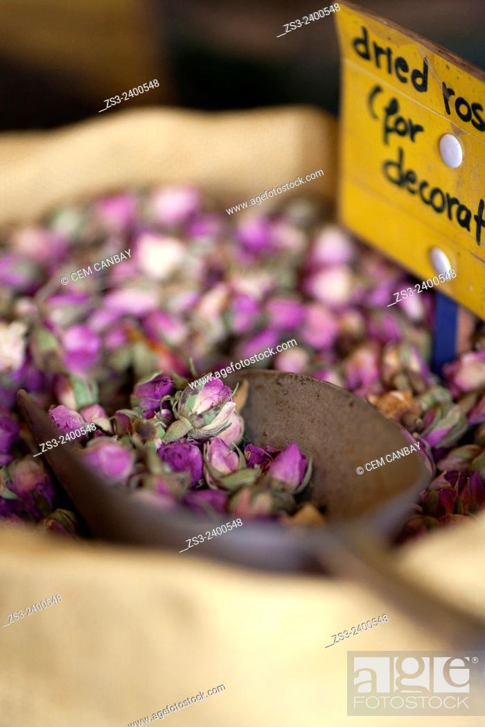 Stock Photo: Dried roses in sacks at the shop in town, Naxos, Cyclades Islands, Greek Islands, Greece, Europe.