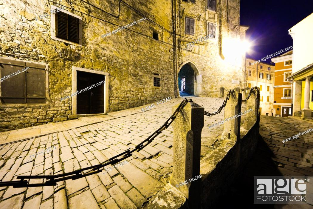 Stock Photo: Motovun medieval town in Istria, Croatia, entrance to the town.