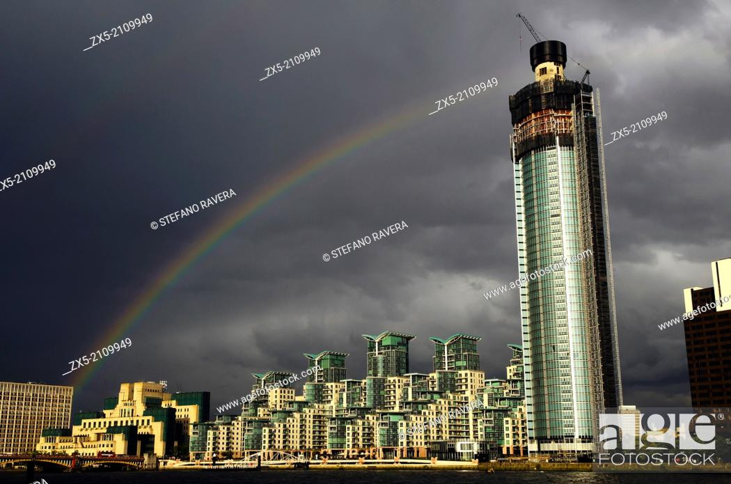 Stock Photo: Rainbow over Vauxhall Tower and St George Wharf Building - London, England.