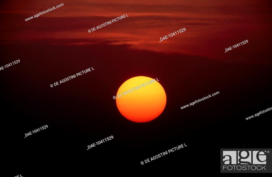 Stock Photo: The setting sun.