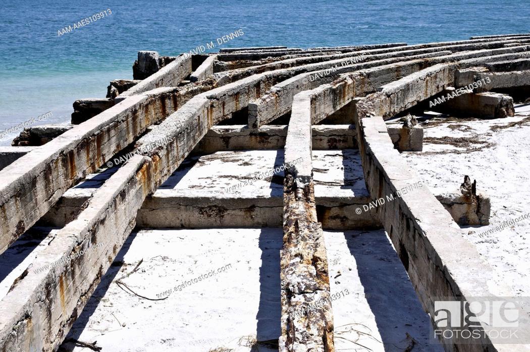 Stock Photo: Remains of old wharf, Egmont Key National Wildlife Refuge Hillsborough Co., FL.