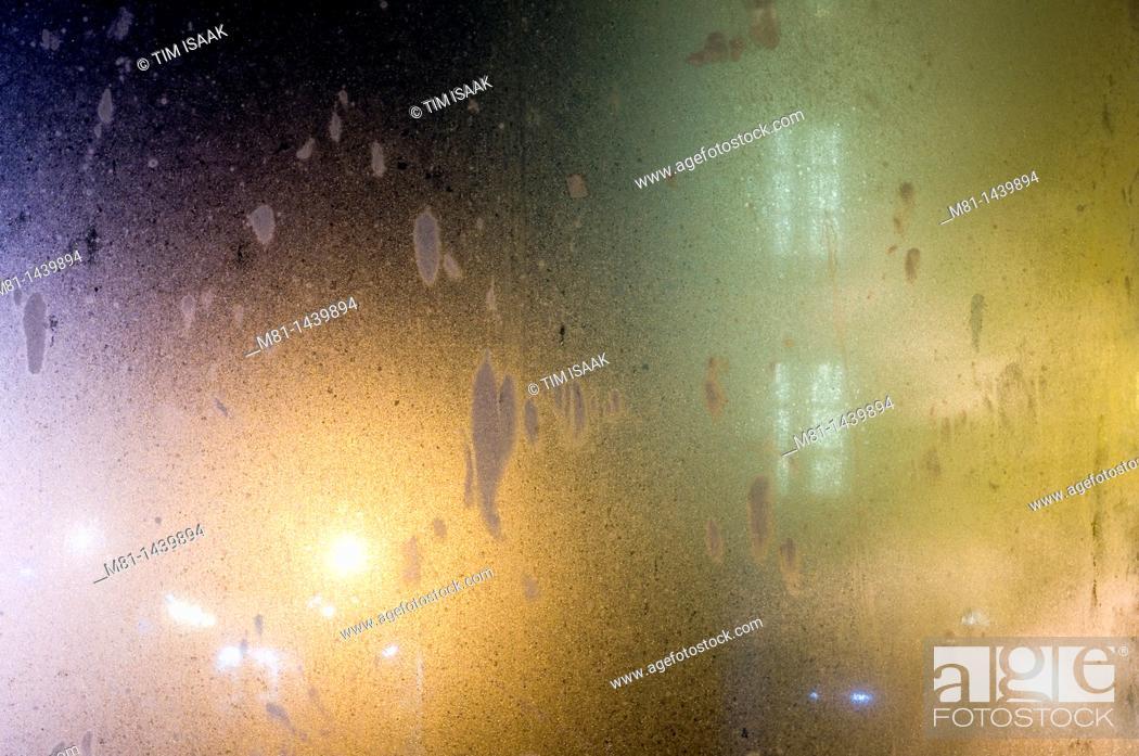 Stock Photo: City lights through glass panel  Sidney, British Columbia, Canada.