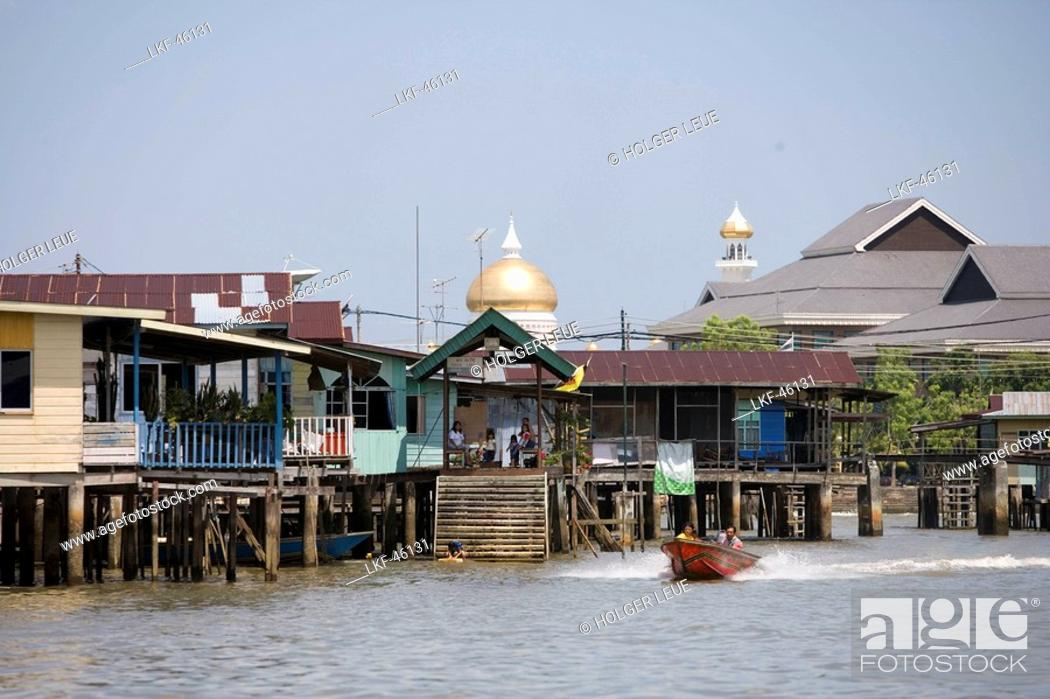 Stock Photo: Water Village Stilt Houses, Kampong Ayer Water Village, Bandar Seri Begawan, Brunei Darussalam, Asia.