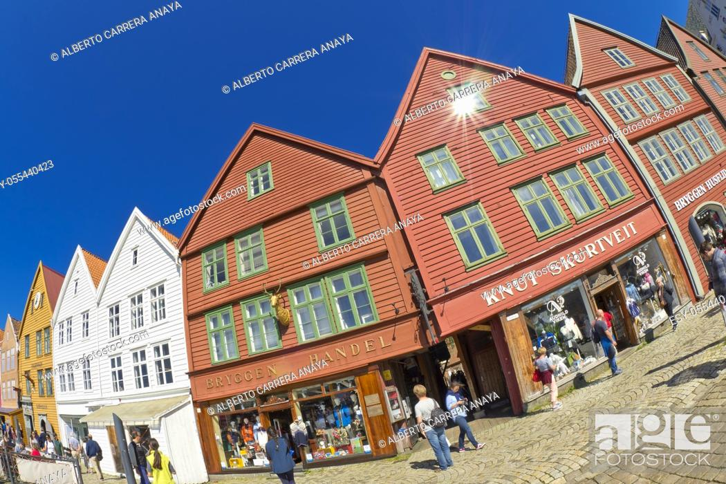 Imagen: Traditional Architecture, Old Town, Bergen, Norway, Scandinavia, Europe.