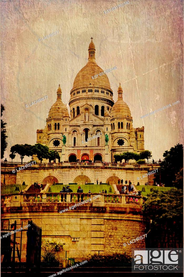 Stock Photo: Basilica of the Sacre Coeur in vintage style, Paris, France.