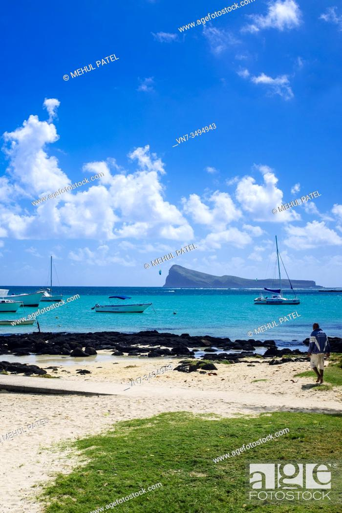 Stock Photo: Cap Malheureux with the island of Coin de Mire in the distance, Mauritius, Indian Ocean.
