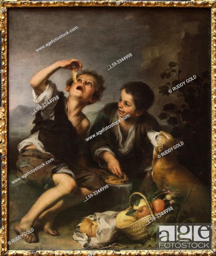 Stock Photo: 'The Pie Eaters', 1675/82, by Bartolomé Esteban Murillo (1617-1682).