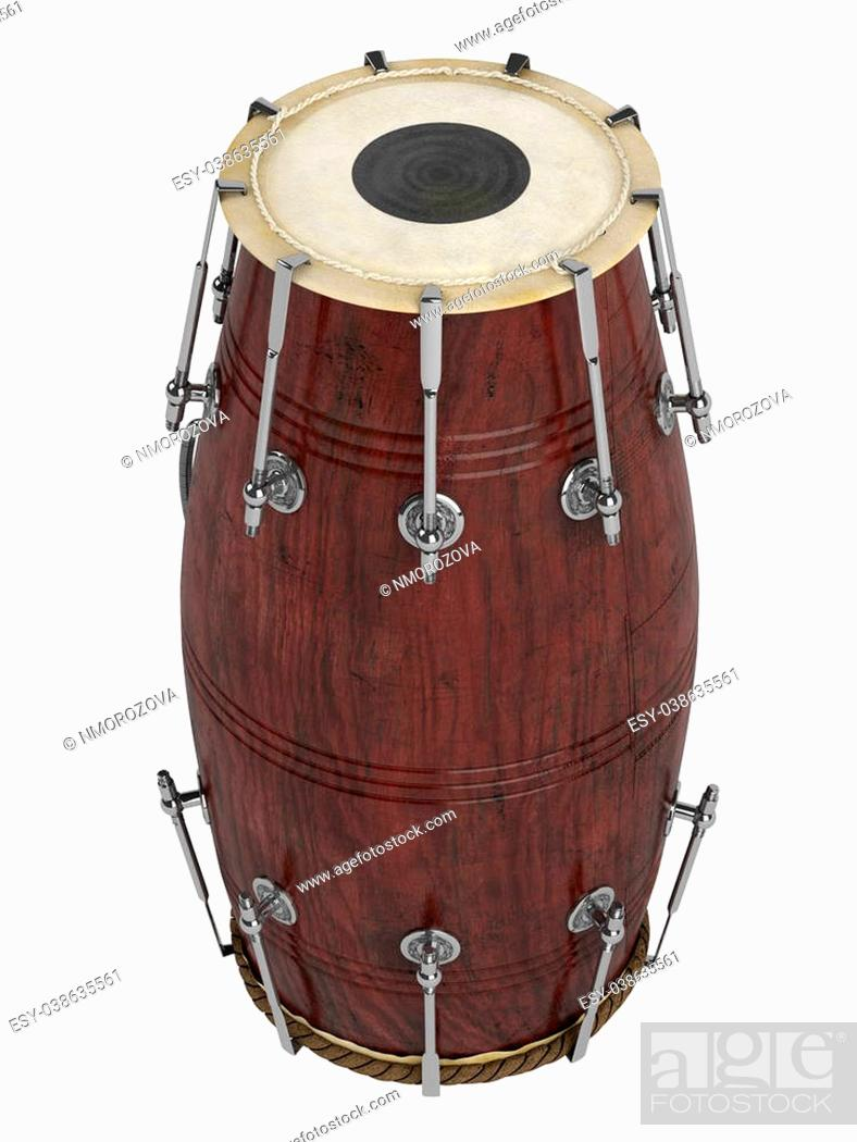 Photo de stock: Double-headed hand-drum or Dholak, Dholki, Naal isolated on white background.