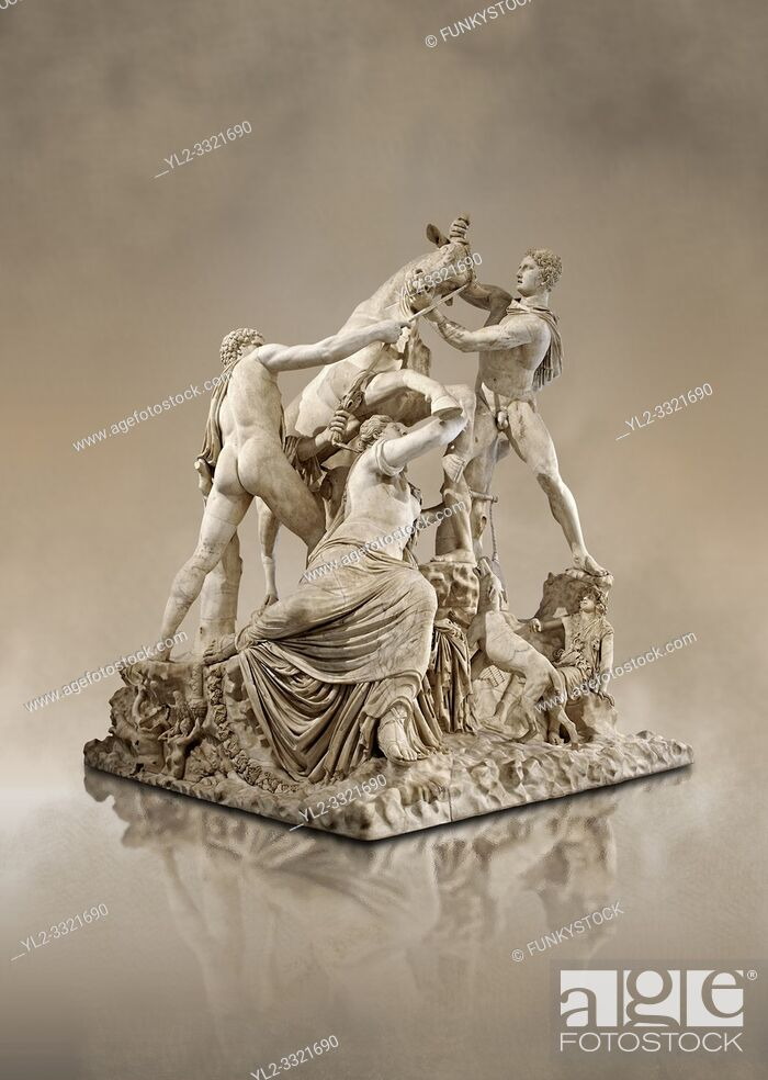 Photo de stock: 2nd century AD Roman marble sculpture known as the Farnese Bull from the Baths of Caracalla, Rome, Farnese Collection, Naples Museum of Archaeology, Italy.