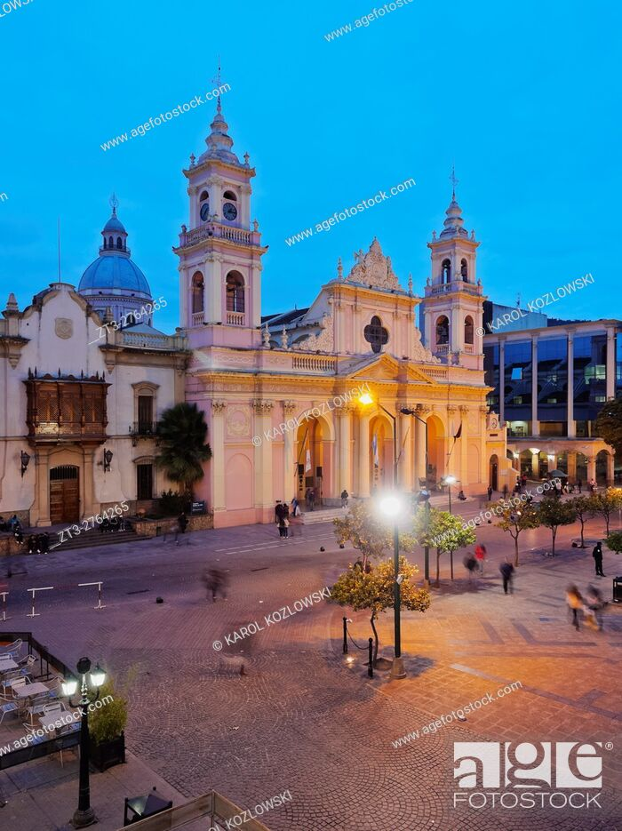 Stock Photo: Argentina, Salta, Twilight view of the Cathedral Basilica.