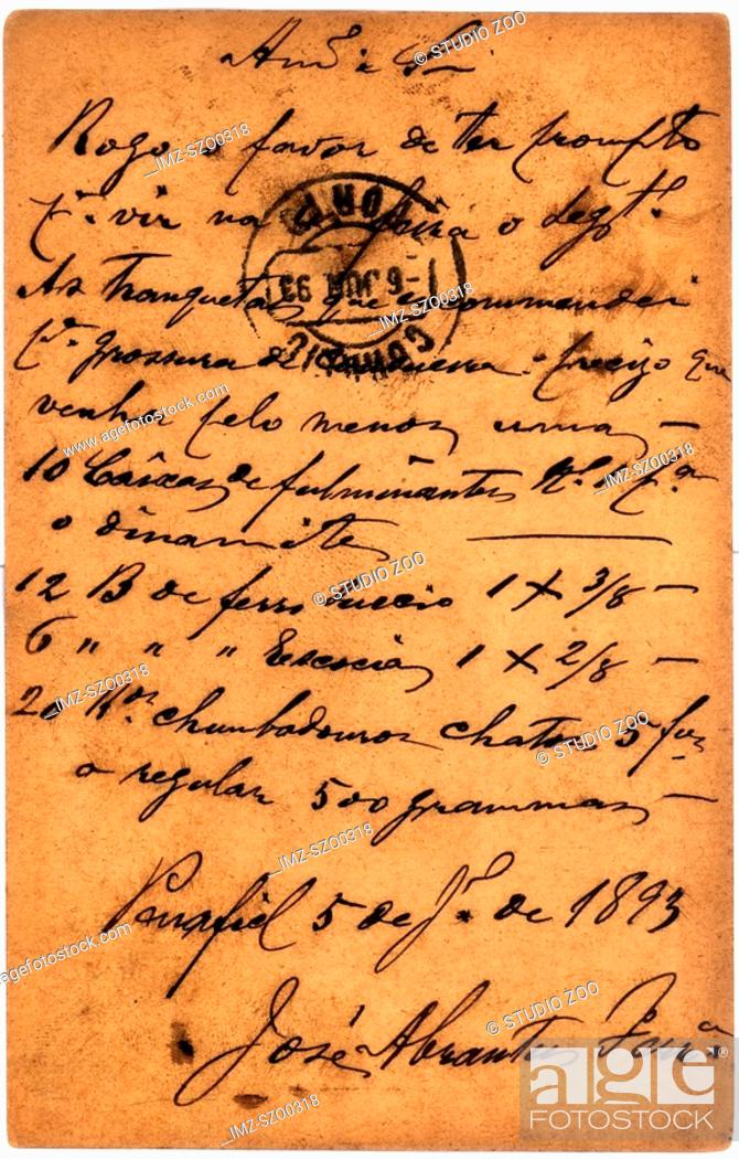 Stock Photo: Vintage postcard with script writing, June 6 1893.