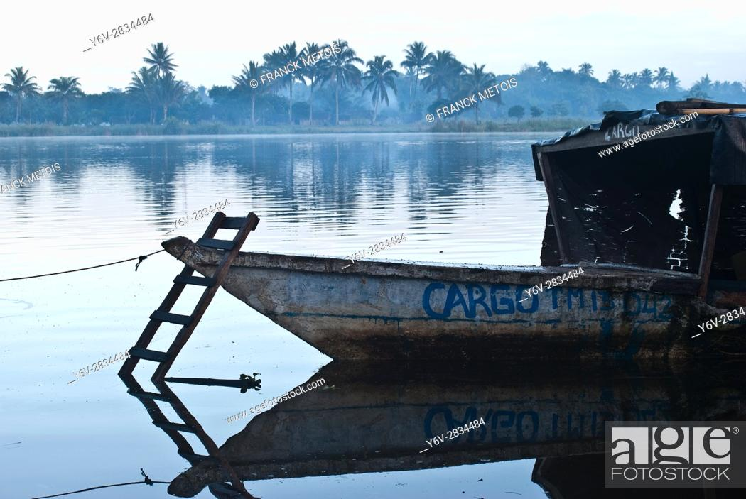 Stock Photo: Bow of a passenger boat connecting villages in the Pangalanes canal. At Mananjary ( Madagascar).